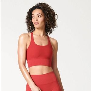 Nux Shape Shifter Ribbed Crossed Crop Workout Top
